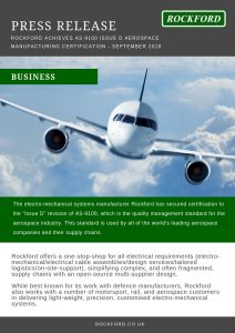 Rockford Achieves AS-9100 Issue D Aerospace Manufacturing ... on